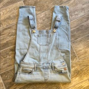 Abercrombie kids ripped overalls light wash girls
